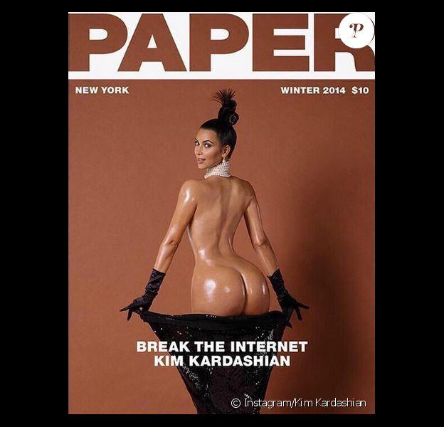 """Kim Kardashian photographiée (et dénudée) à Paris par Jean-Paul Goude pour """"Paper Magazine"""", hiver 2014."""