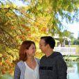 Exclusif - Emilie Dequenne et son mari Michel Ferracci aux Sources de Caudalie à Martillac près de Bordeaux, le 26 octobre 2014 à l'occasion de leur voyage de noces.