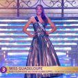 Miss Guadeloupe défile en robe de princesse lors de la cérémonie de Miss France 2015 sur TF1, le samedi 6 décembre 2014.