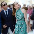 Gad Elmaleh et sa compagne Charlotte Casiraghi arrivant à la soirée pour l'inauguration du nouveau Yacht Club de Monaco, Port Hercule, le 20 juin 2014.