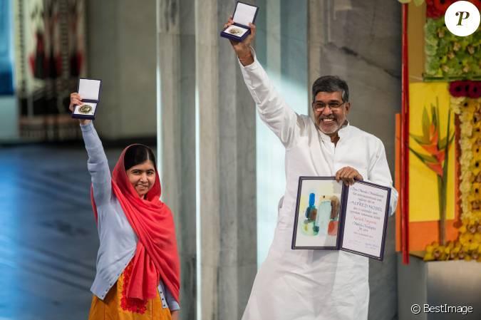 la pakistanaise malala yousafzai et l 39 indien kailash satyarthi ont re u le prix nobel de la paix. Black Bedroom Furniture Sets. Home Design Ideas