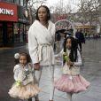 """Mel B (Melanie Brown) et ses filles Angel Iris Murphy Brown et Madison Belafonte à la projection du film """"Tinkerbell and the Legend of the Neverbeast"""" à Londres, le 7 décembre 2014"""