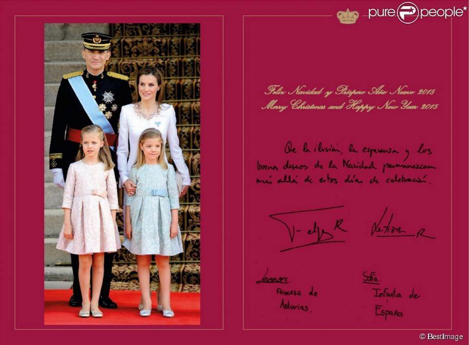 Le roi Felipe VI et la reine Letizia ont choisi d'utiliser des photos du couronnement, le 19 juin 2014, pour illustrer la carte de voeux des fêtes de fin d'année et du Nouvel an 2015.