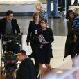 Olivier Martinez, sa femme Halle Berry et leur fils Maceo arrivent à l'aéroport Charles de Gaulle à Paris, le 19 décembre 2014.