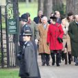 Le prince Charles, prince de Galles, la princesse Anne, Tim Laurence, le prince William, le duc de Cambridge, Catherine Kate Middleton, la duchesse de Cambridge enceinte et le prince Harry assistent à la messe de Noël à Sandringham, le 25 décembre 2014.
