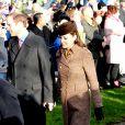 Le prince William, duc de Cambridge et Catherine Kate Middleton, la duchesse de Cambridge enceinte assistent à la messe de Noël à Sandringham, le 25 décembre 2014.