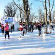 La patineuse Sarah Abitbol anime une séance de Ice Fitness avec Stéphane Rotenberg sur la patinoire de Noël des Champs-Elysées à Paris, le 29 décembre 2014.29/12/2014 - Paris