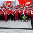 L'hommage de la Scuderia Ferrari à Jules Bianchi lors du Grand Prix de Russie à Sotchi, photo publiée sur Twitter le 12 octobre 2014