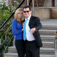 Charlie Sheen et sa future femme Brett Rossi sont allés dîner en amoureux au célèbre restaurant Le Jules Verne 2e étage de la tour Eiffel à Paris, le 16 avril 2014.