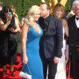 """Donnie Wahlberg et son fiancé Jenny McCarthy arrivant à la cérémonie des """"Creative Arts Emmy Awards 2014"""" à Los Angeles, le 16 août 2014."""