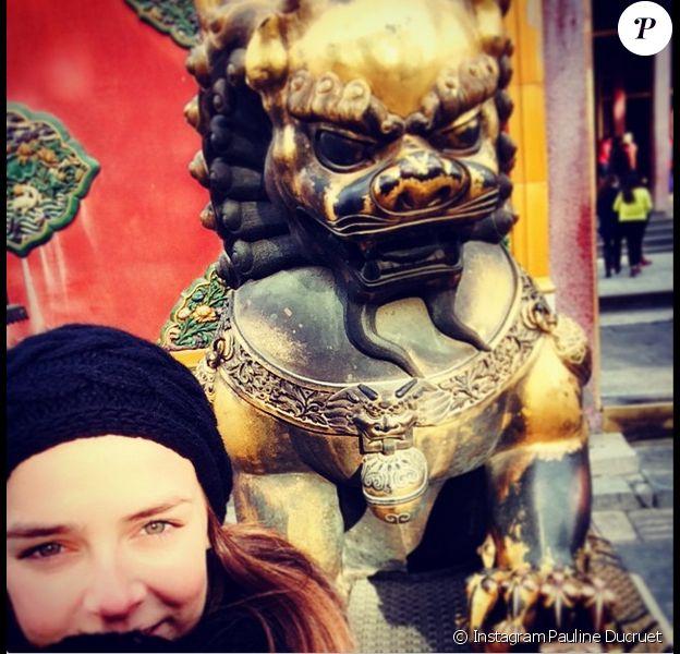 Pauline Ducruet, fille de la princesse Stéphanie de Monaco, en visite à la Cité interdite, en Chine. Photo publiée le 7 janvier 2015 sur Instagram.