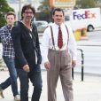 """Josh Brolin et Joel Coen sur le tournage du nouveau film """"Hail, Caesar!"""" des frères Coen à Los Angeles, le 12 novembre 2014."""