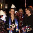 Pauline Ducruet, la princesse Stéphanie de Monaco, le prince Albert II de Monaco à leur arrivée  lors de la soirée de gala du 39e Festival du cirque de Monte-Carlo, le 20 janvier 2015 sous le chapiteau de Fontvieille.