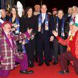 Pauline Ducruet, la princesse Stéphanie de Monaco, le prince Albert II de Monaco, Robert Hossein, Jean-Paul Belmondo bien accueillis  lors de la soirée de gala du 39e Festival du cirque de Monte-Carlo, le 20 janvier 2015 sous le chapiteau de Fontvieille.