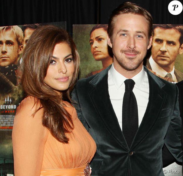 """Eva Mendes et Ryan Gosling à la première du film """"The Place Beyond the Pines"""" à New York, le 28 mars 2013."""