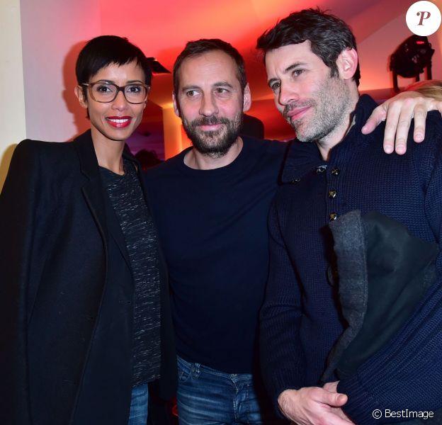 """Sonia Rolland, Fred Testot et Jalil Lespert - Photocall du téléfilm """"L'emprise"""" à l'occasion de la projection au cinéma """"L'Arlequin"""" à Paris, le 21 janvier 2015."""
