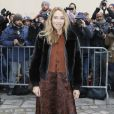 Alexandra Golovanoff arrive au Musée Rodin pour assister au défilé Christian Dior haute couture printemps-été 2015. Paris, le 26 janvier 2015.
