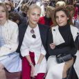 Madisson Brown, Aymeline Valade et Clotilde Courau assistent au défilé Christian Dior haute couture printemps-été 2015 au musée Rodin. Paris, le 26 janvier 2015.
