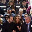 Benjamin Millepied, Natalie Portman et Sidney Toledano assistent au défilé Christian Dior haute couture printemps-été 2015 au musée Rodin. Paris, le 26 janvier 2015.