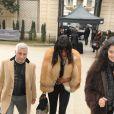 Naomi Campbell arrive à l'hôtel Salomon de Rothschild pour participer au défilé La Perla Atelier printemps-été 2015. Paris, le 26 janvier 2015.