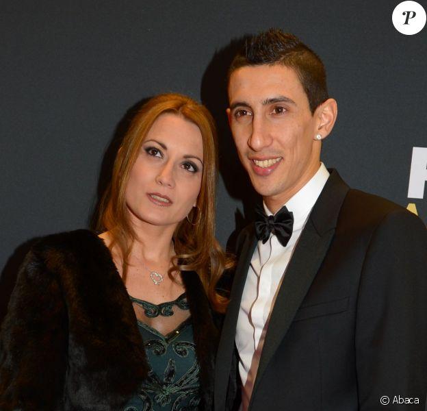 Angel Di Maria et sa femme à Zurich le 12 janvier 2015.