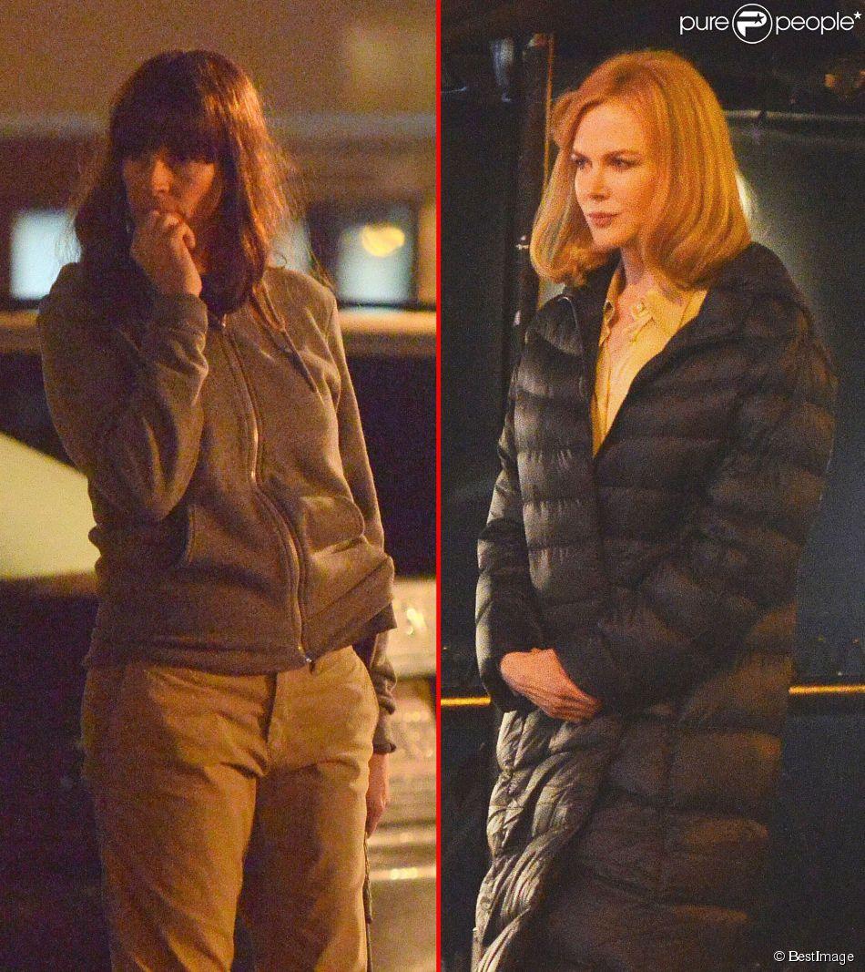 """Nicole Kidman et Julia Roberts méconnaissable sur le tournage du film """"The Secret in Their Eyes"""" à Los Angeles, le 3 février 2015."""