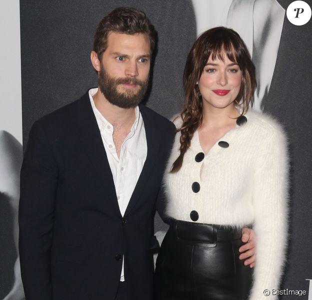 """Jamie Dornan et Dakota Johnson - Projection du film """"50 nuances de Grey"""" à New York, le 6 février 2015."""