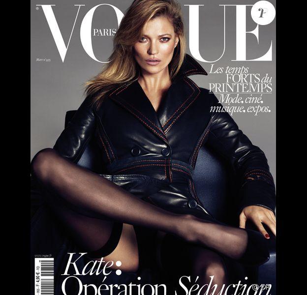 Kate Moss en couverture du numéro de mars 2015 de Vogue Paris. Photo par Mert et Marcus.