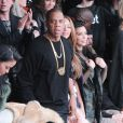 Cassie, Jay Z, Beyoncé, Kim Kardashian et Hailey Baldwin assistent à la présentation de la collection YEEZY SEASON 1 (adidas Originals x Kanye West) au studio Skylight Clarkson Square. New York, le 12 février 2015.