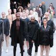 Kanye West lors de la présentation de sa collection YEEZY SEASON 1 (adidas Originals x Kanye West) au studio Skylight Clarkson Square. New York, le 12 février 2015.