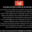 Canal + a dévoilé la liste des 40 invités, conviés à souffler les bougies des 40 ans de l'Académie des César.