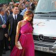 Lionel Messi et sa petite amie Antonella Rocuzzo - Mariage du footballeur Xavi Hernandez et Nuria Cunillera à Blanes, le 13 juillet 2013.