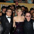 "Colleen Camp, David O'Russell, Jennifer Lawrence, Paul Herman et Alessandro Nivola - 20eme ceremonie des ""Screen Actors Guild Awards"" au Shrine Exposition Center a Los Angeles."