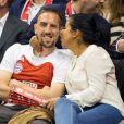 Franck Ribéry et son épouse Wahiba Belhami, lors d'un match de basket entre le FC Bayern Munich et le Maccabi Tel Aviv à Munich, le 3 avril 2014