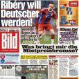 """Franck Ribéry en Une du journal """"Bild"""" le 26 février 2015. Il déclare penser à prendre la nationalité allemande."""