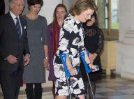 Mathilde de Belgique : Béquilles et fauteuil roulant, mais toujours classe