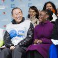 Ban Ki Moon, Chirlane McCray à la marche pour l'égalité des genres et les droits des femmes à New York, le 8 mars 2015