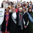 Gemma Cairney, Laura Pankhurst, Annie Lennox, Helen Pankhurst et Gemma Arterton lors de la journée de la femme à Londres, le 7 mars 2015