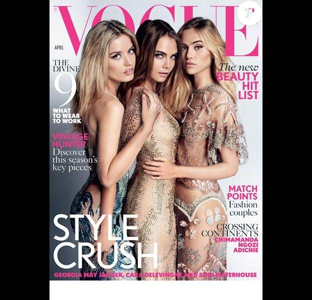Georgia May Jagger, Cara Delevingne et Suki Waterhouse photographiées par Mario Testino pour British Vogue. Numéro d'avril 2015.