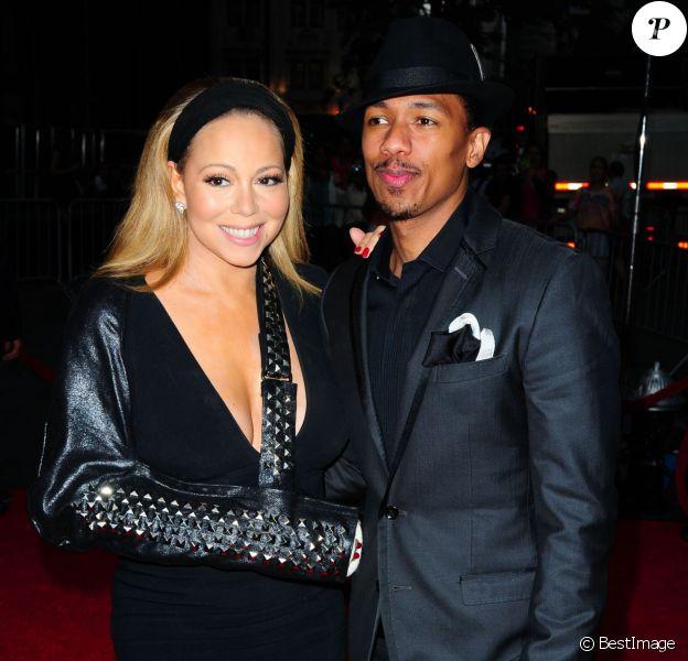 """Mariah Carey (le bras casse), Nick Cannon lors de la Premiere du film """"The Butler"""" (Le Majordome) a New York, le 5 aout 2013."""