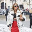 Anna Dello Russo arriveau ConseilÉconomique et Social pour assister au défilé Miu Miu automne-hiver 2015-2016. Paris, le 11 mars 2015.