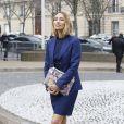 Alexandra Golovanoff arrive au Conseil Économique et Social pour assister au défilé Miu Miu automne-hiver 2015-2016. Paris, le 11 mars 2015.