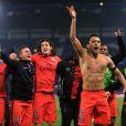 Marquinhos et ses coéquipiers après la qualification du PSG en quart de finale de la Ligue des champions, le 11 mars 2015 à Stamford Bridge à Londres