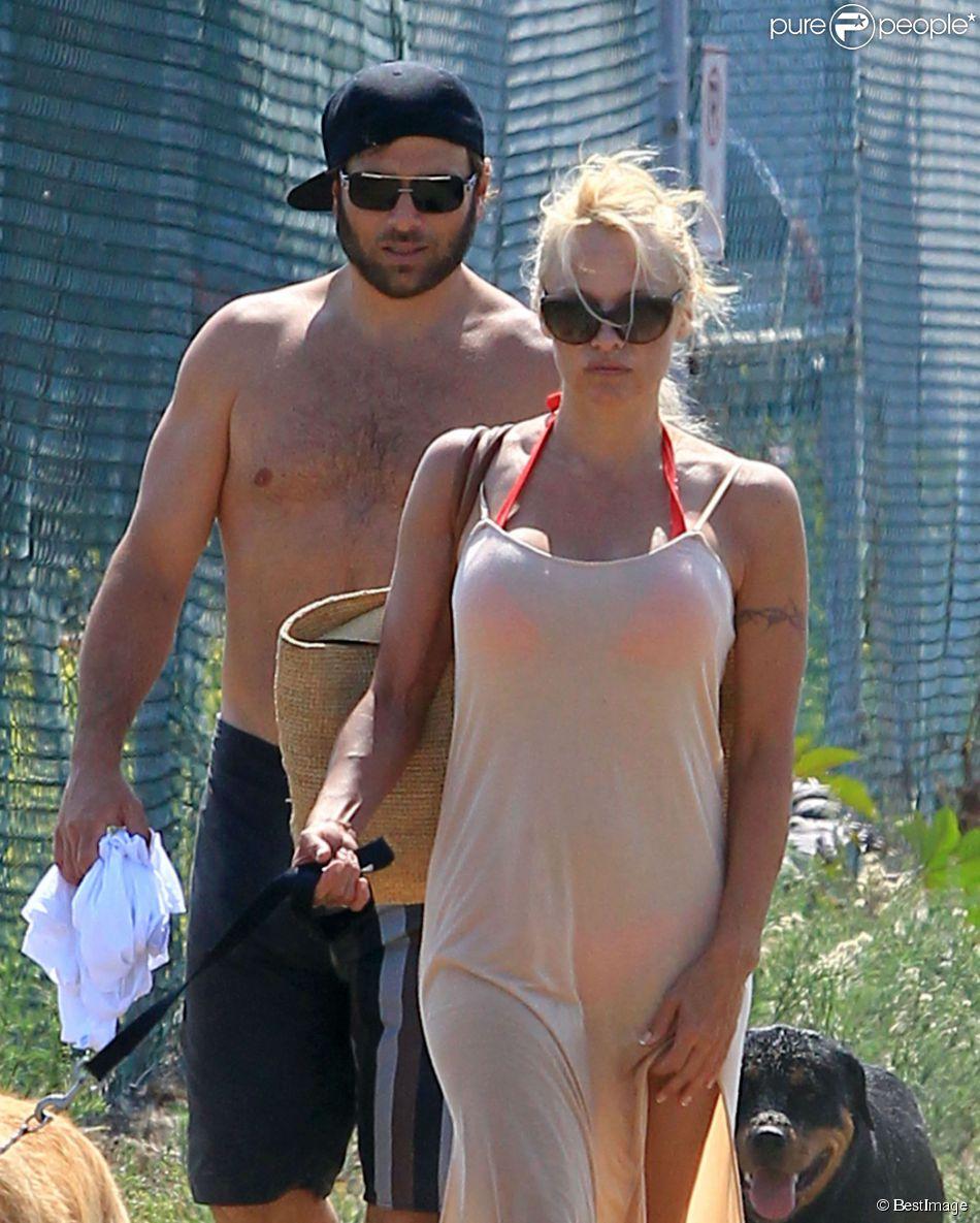 Pamela Anderson et son ex-mari Rick Salomon à Los Angeles le 5 juillet 2013.