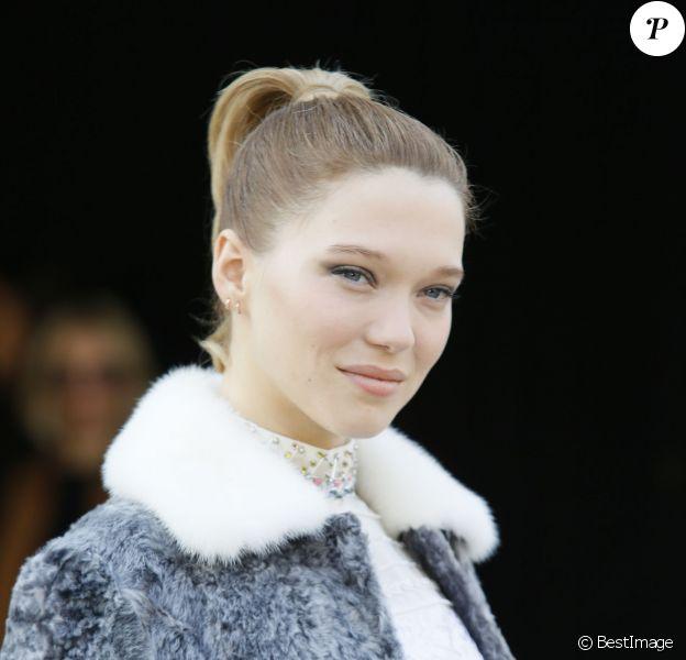 """Léa Seydoux - Sorties du défilé de mode """"Miu Miu"""", collection prêt-à-porter automne-hiver 2015/2016, à Paris le 11 mars 2015"""