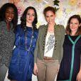 Hapsatou Sy, Rowena Forrest, Ophélie Meunier et Emmanuelle Boidron au lancement de la collection printemps-été 2015 de Rowena Forrest à la galerie Nabokov, à Paris, le 19 mars 2015