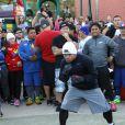 Manny Pacquaio à l'entraînement dans les rues de West Hollywood, le 14 mars 2015