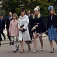 Lady Louise Windsor et sa mère la comtesse Sophie de Wessex, Autumn Phillips et la princesse Beatrice d'York lors de la messe de Pâques en la chapelle St George à Windsor le 5 avril 2015.