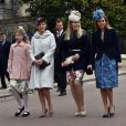 Lady Louise, la comtesse Sophie de Wessex, Autumn Phillips et la princesse Beatrice d'York lors de la messe de Pâques en la chapelle St George à Windsor le 5 avril 2015.