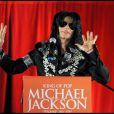 Michael Jackson en conférence de presse à Londres le 5 mars 2009